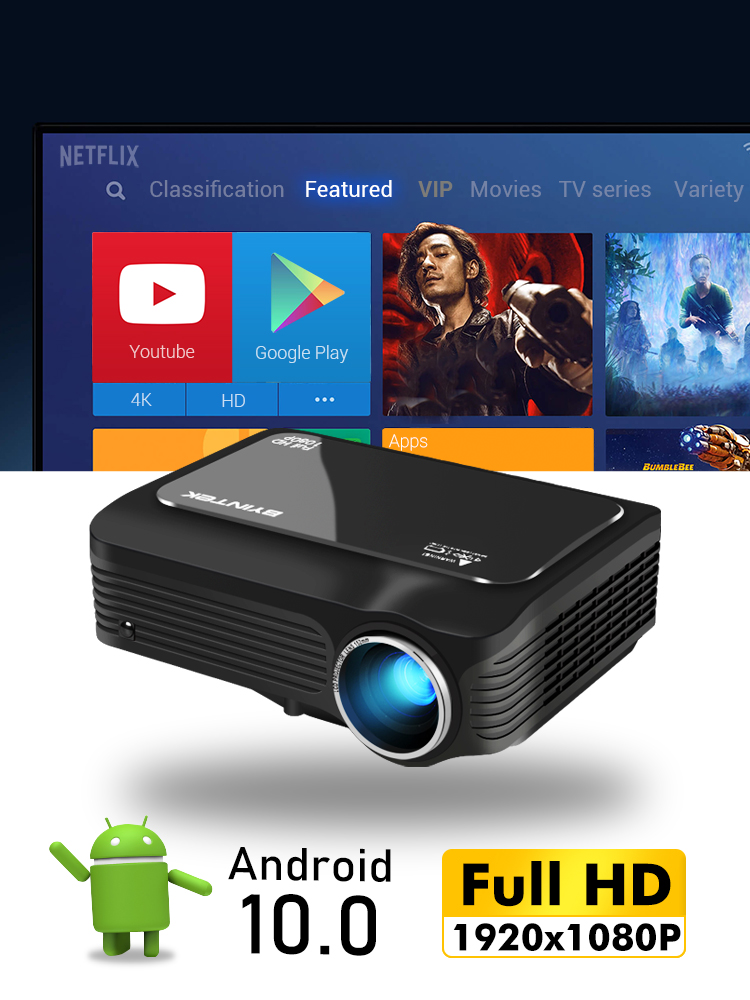 Proyector Beamer Video Smartphone Digital Android BYINTEK Portable Full-Hd Optional 1080P