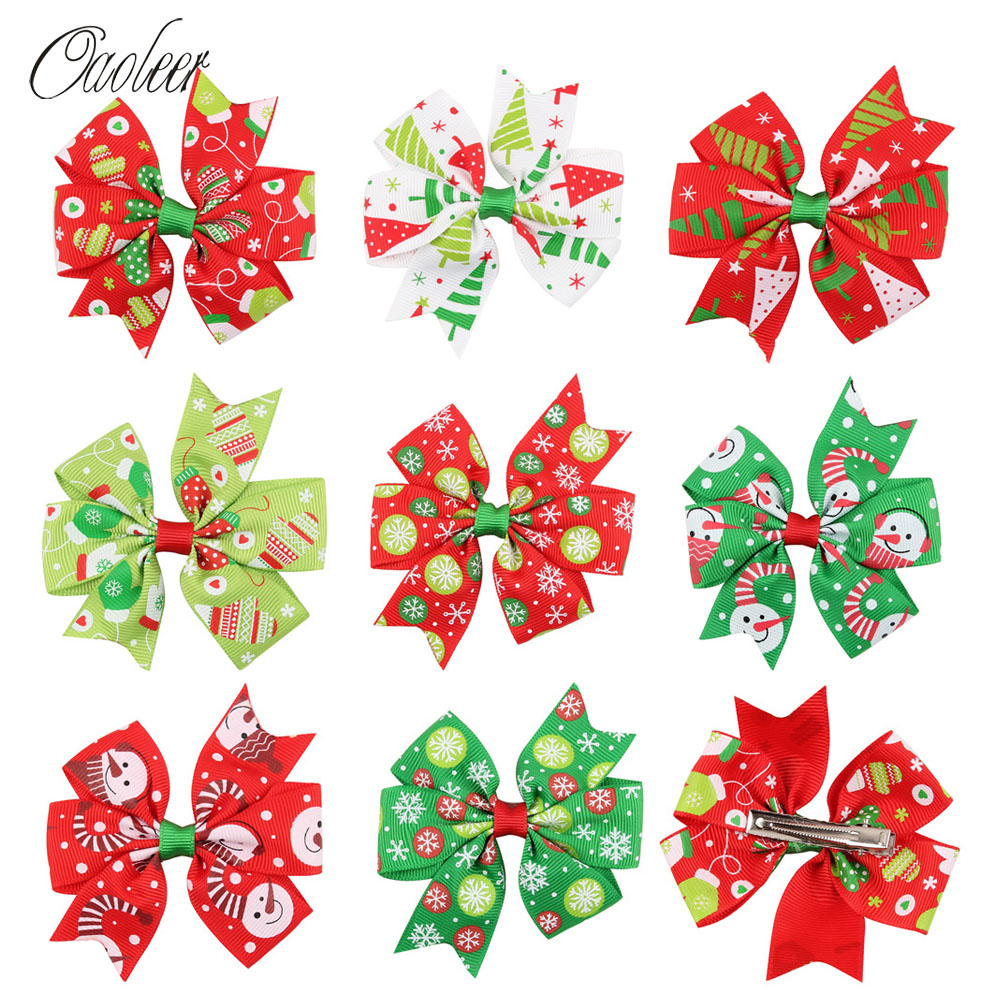 8pcs/lot 2.5-3 Cute Christmas Hair Bows With Alligator Clip Xmas Hairpin Kids Snow Print Ribbon Hairgrips Accessories