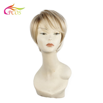 Short Straight Synthetic Dark roots blonde wigs for black women Hair Fleeciness Realistic Natural Blonde Toupee Wigs