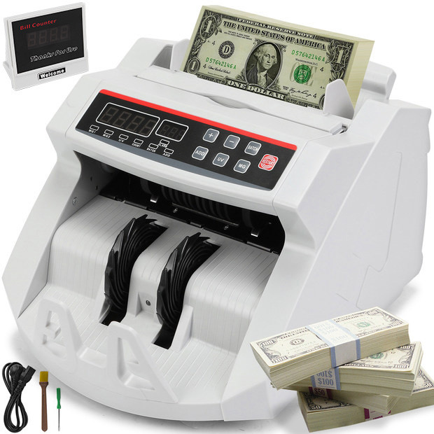 Cash Counter Banknote Money Detector UV MG Counter Feit Detection With Digital LED Display For Bank Retail Store