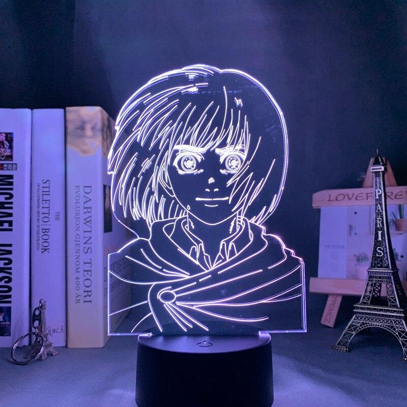 H7c47a1b8303a4d60ac0b37e071fcc19cq Luminária Attack on Titan anime shingeki kyojin 3d lâmpada armin arlert luz para decoração do quarto crianças presente ataque em titan led night light armin arlert