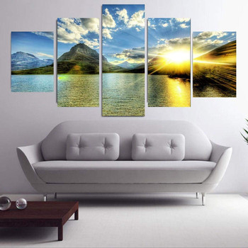 Family Decoration Painting Sunset Sunset Sea Wave Mural Ornaments Wall Art Modern Abstract Painting Family Quotes Vintage 2020 image