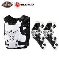SCOYCO kurtka motocyklowa kamizelka kuloodporna motocykle jazda ochraniacz na klatkę piersiową Motocross wyścigi drogowe kamizelka + motocykl ochraniacz kolan