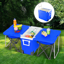 Wielofunkcyjny składany piknik na świeżym powietrzu ze stali nierdzewnej aktualizacji stołek z PP chłodziarka na kółkach na zewnątrz Camping piknik w Zewnętrzne narzędzia od Sport i rozrywka na