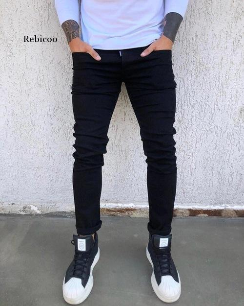 New Mens Pencil Pants 2021 Fashion Men Casual Slim Fit Straight Stretch Feet Skinny Zipper Jeans For Male Hot Sell Trousers 1
