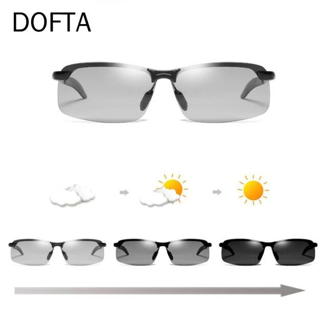 Doftaフォトクロミックサングラス男性偏光変色太陽男性リムレス正方形車を駆動するためのサングラスシェード
