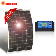 DOKIO Brand 50W 18V Flexible Solar Panel China + 10A 12V/24V Controller 50 Watt Flexible Panels Solar Car/Boat Battery Charger