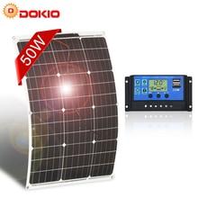 Dokioブランド50ワット18 2v柔軟な太陽電池パネル中国 + 10A 12v/24vコントローラ50ワット柔軟なパネルソーラーカー/ボートのバッテリー充電器
