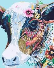 GATYZTORY renkli inek boyama el yapımı boyama diy boyama by numarası akrilik ev dekorasyon için tuval boyama