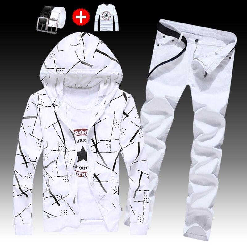 Chaud hommes décontracté 2 pièces ensemble sweat à capuche haut jean pantalon à manches longues manteau Long noir/blanc pantalon pour homme automne vêtements - 3