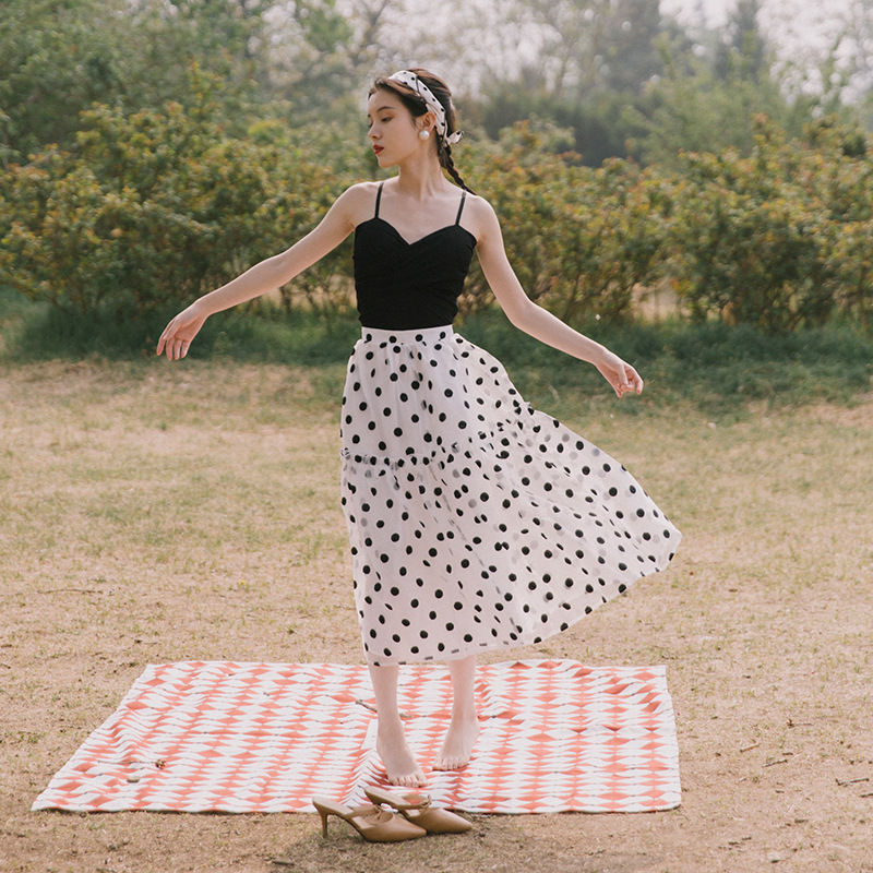 French Retro Embroidered Polka Dot Shan Guang Sha Skirt Camisole Dress Outfit