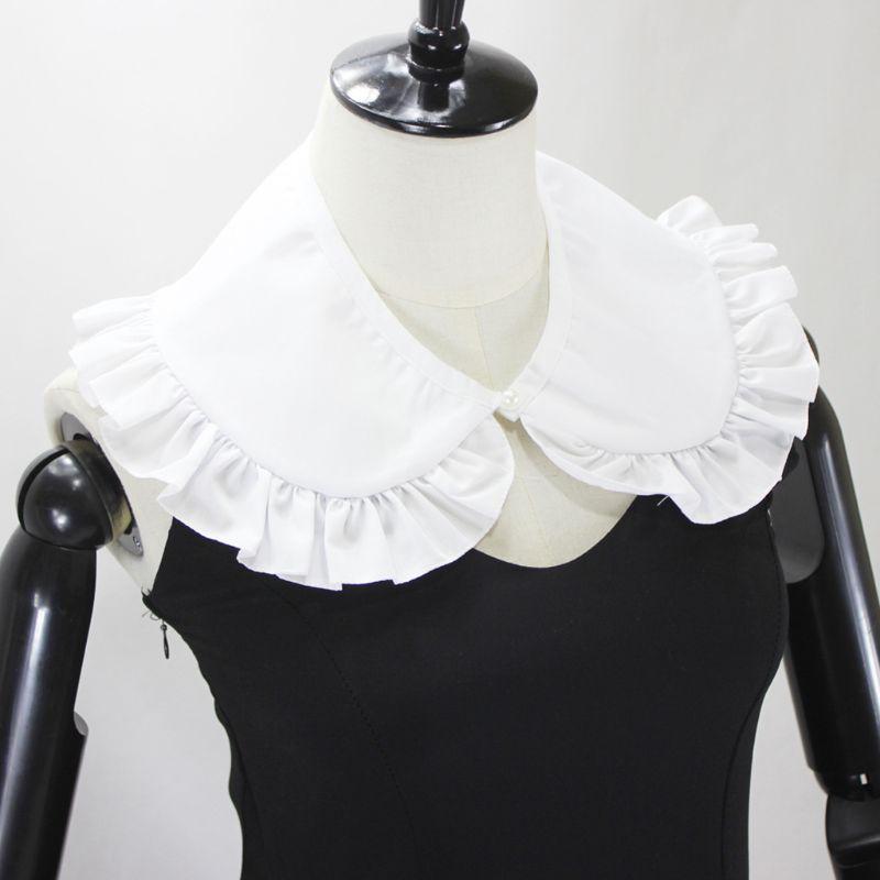 Japanese Womens Sweet Doll False Fake Collar Ruffles Trim Detachable Half Shirt C6UD