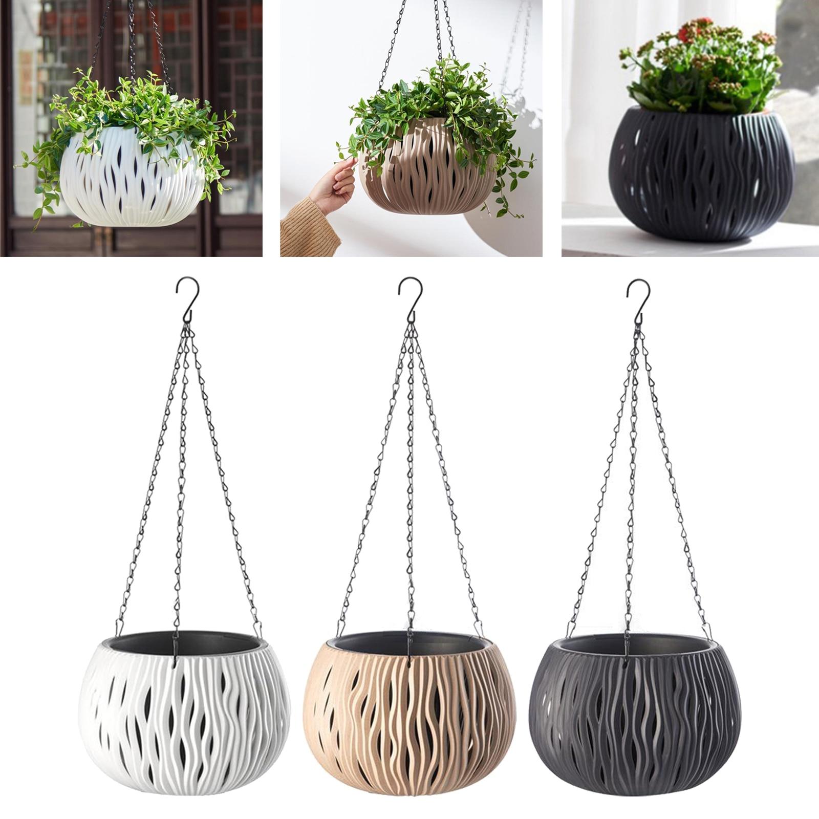 Plastic Dual-pots Hanging Basket Self Watering Green Hanging Pot Home Decor