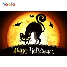 Yeele Halloween Moon Horror Cat Bats lawn Ghosts Photography Backdrop Personalized Photographic Backgrounds For Photo Studio