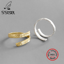 S'STEEL 925 Sterling Silver Ring Statement Gold Rings Anillos Plata Para Mujer Bijoux Argent Massif Pour Femme Anel Fine Jewelry