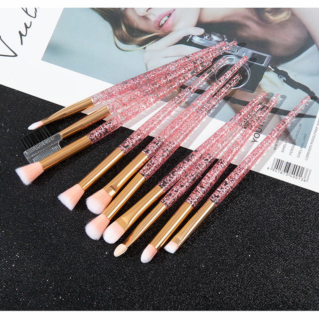 Glitter 10pcs Lovely Pink Unicorn Eye Brushes Set Eyeliner Eyebrow Eyeshadow Makeup Brushes Set Cosmetic Beauty maquiagem Tools 3