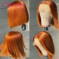 Парики на сетке с цветным Бобом, парики с апельсиновым имбирем, короткие бразильские человеческие парики без повреждений для женщин, парики...