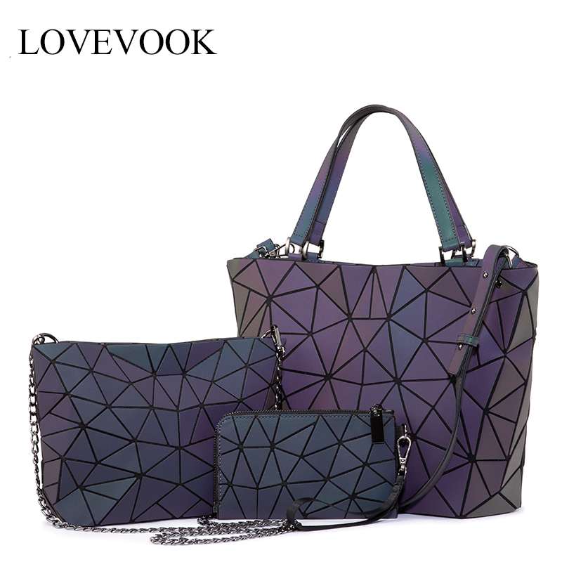 Lovevook Women Handbag Luxury Shoulder Bag Set Folding Totes Crossbody Bag Female Purse And Wallet For Ladies Luminous Geometric