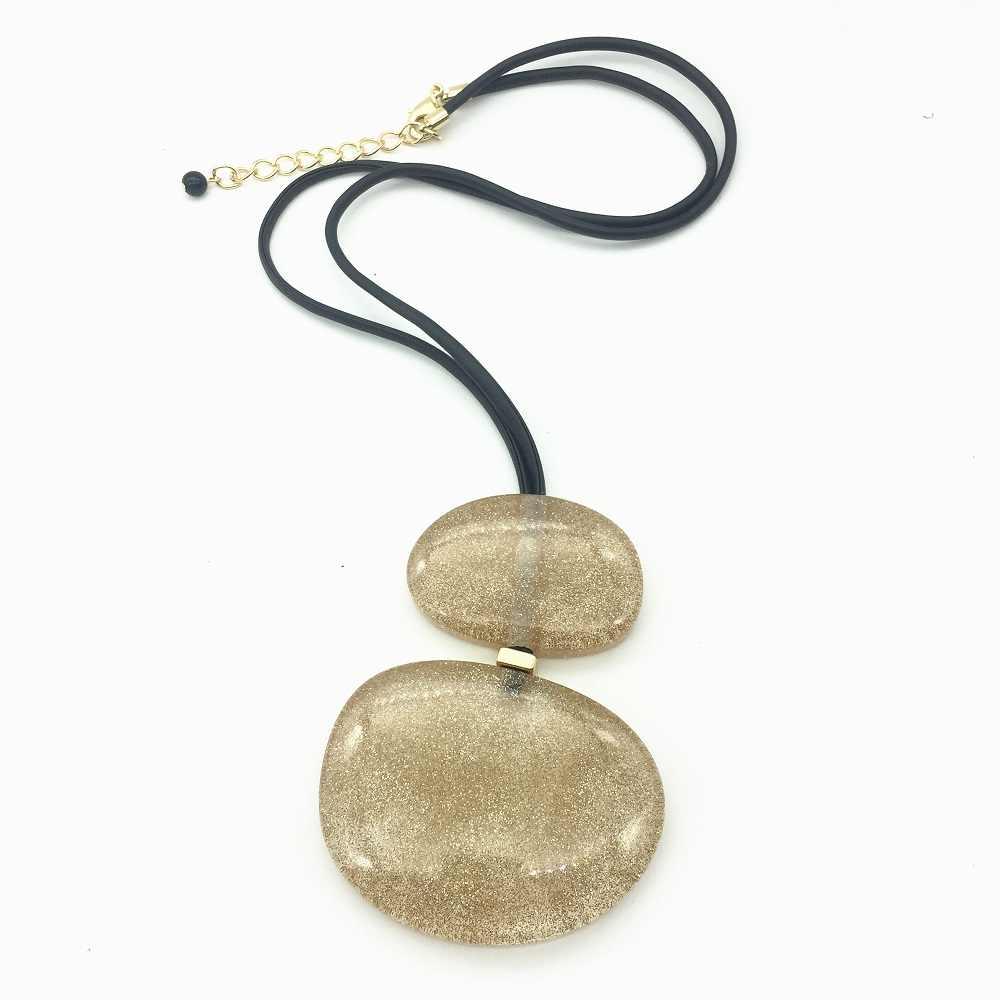 Oświadczenie akrylowe big drop wisiorek długi naszyjnik skórzana linka łańcuch kobiety biżuteria Choker kolye naszyjniki Collares