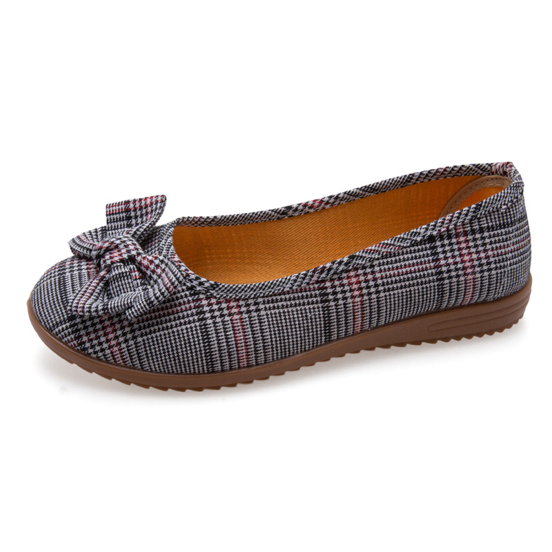 Women Cloth Shoes Casual Loafers Slip On Ballerina Flats Bow Lattice Shallow Single Shoes Breathable Round Toe Zapatos Mujer NewWomens Flats   -