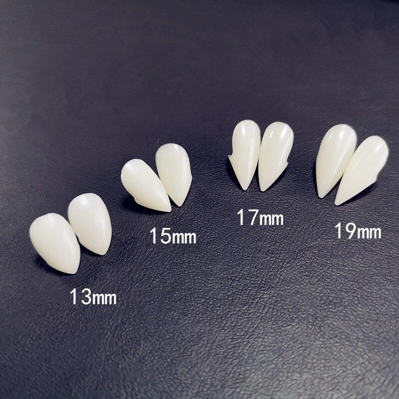2 uds. De dentaduras postizas de fantasma demonio de vampiro, 13/15/17mm, colmillos, diente falso Canino con funda, juguete para Cosplay de Halloween