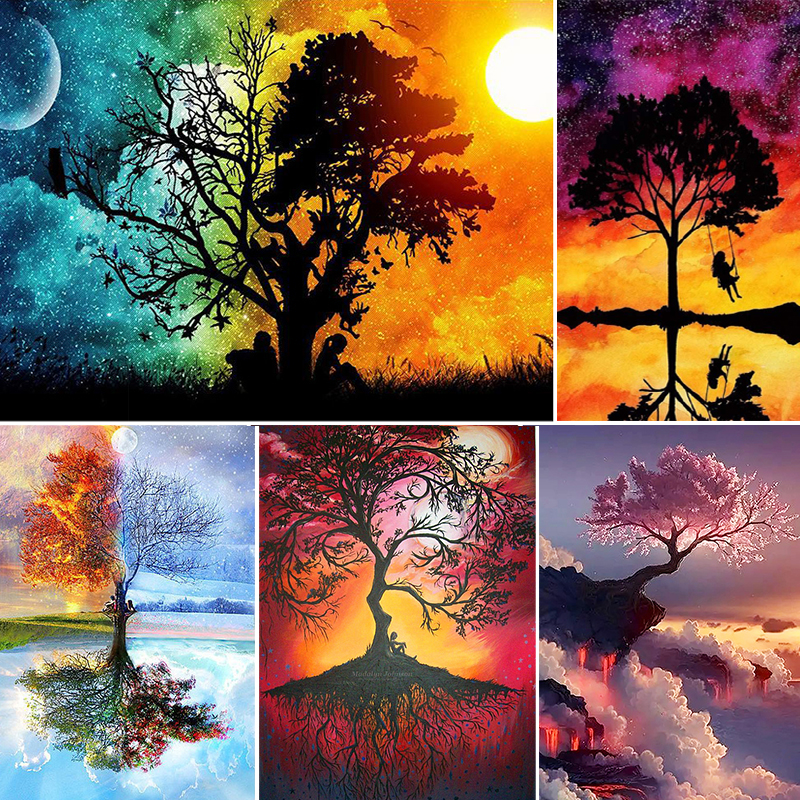 2021 5D Diamond Painting Scenery Tree of Fantasy Embroidery Cross Stitch Rhinestone Mosaic Home Decor