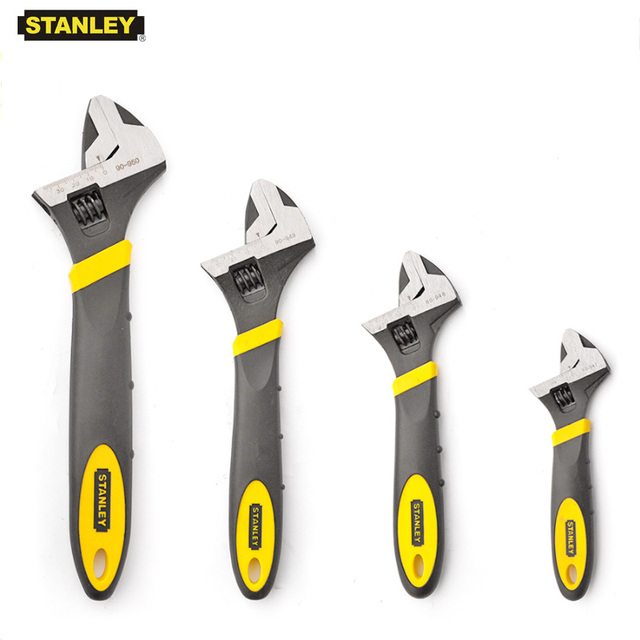 Stanley 1-piece professional wide open bi-material rubber handle adjustable head wrenches spanner inch mm multi tool black Cr-V 1