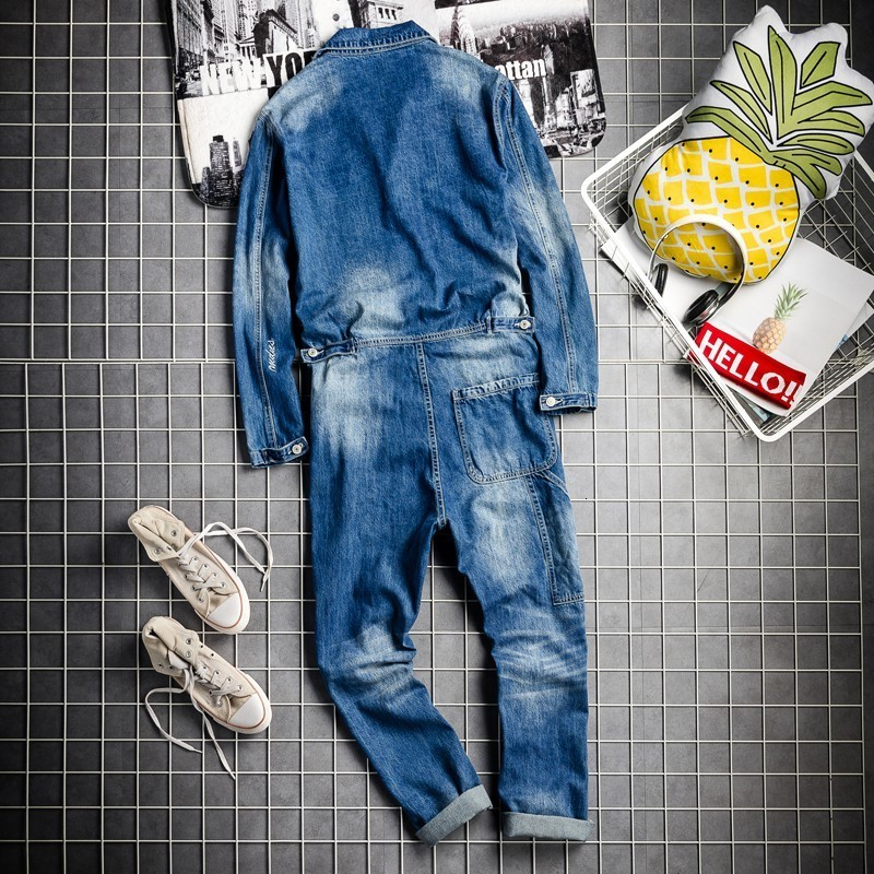 Fashion Mens Long Sleeve Washed Hole Ripped Jeans Cargo Bib Overalls Hip Hop One Piece Jumpsuit Harajuku Streetwear Denim Pants
