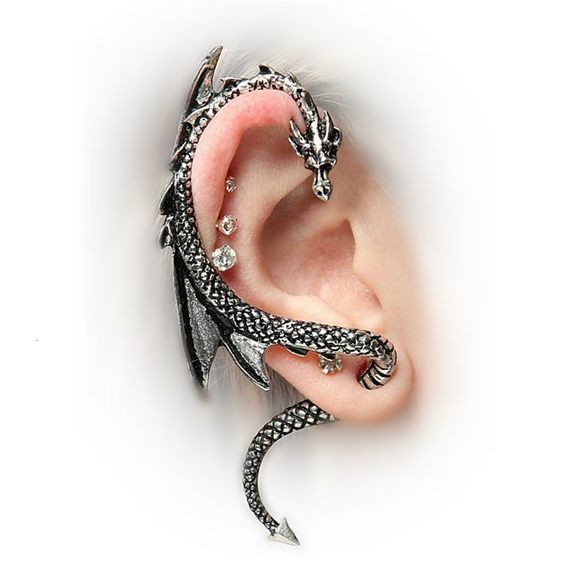 Vintage Punk Rock Dragon Cuff Earrings For Women Men Gothic Ear Wrap Retro Clip Earrings Piercing Fashion Jewelry Orecchini 1pcs
