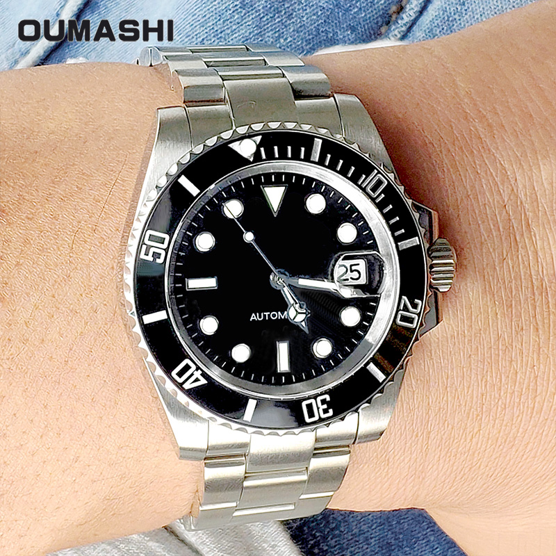 automatic watches men 116610ln stainless steel sapphire 200M swimming diver mechanical 2019 black blue green OUMASHI 40MM|Sports Watches| |  - title=