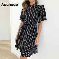 2020 Polka Dot Kleid Frauen Sommer Boho Strand Chic Mini Kleid Casual Kurzarm Damen Büro Elegante Kleid Vestido Mujer