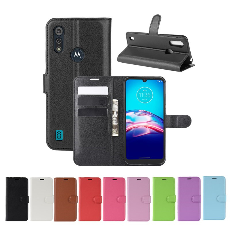10Pcs/Lot Litchi Flip PU Leather Wallet Case For Moto E6S 2020 Edge Plus G Power Stylus G8 Power Lite One Hyper Lychee Grain