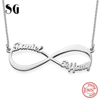 925 sterling silver Custom Name Necklace Letter Symbol Pendant Chain choker jewelry womens clothing accessories kolye real sterling silver initial letter amour necklace red coral shell choker zircon name pendant for women brand monaco jewelry