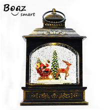Boaz LED Christmas House Night Light Santa Claus Tree Acrylic Flashing Ambient For Home Party  light Lamps