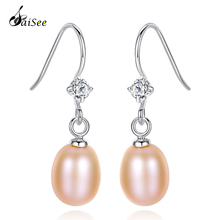 SaiSee Fashion 925 Sterling Silver Geometric CZ Paved Charming Freshwater Pearl Drop Earrings For Women Jewelry Top Quality