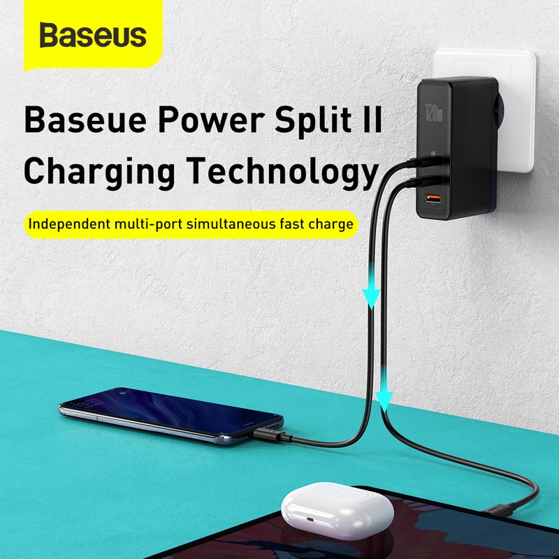 Baseus 120W GaN SiC USB C Charger Quick Charge 4.0 3.0 QC Type C PD Fast USB Charger For Macbook Pro iPad iPhone Samsung Xiaomi 5