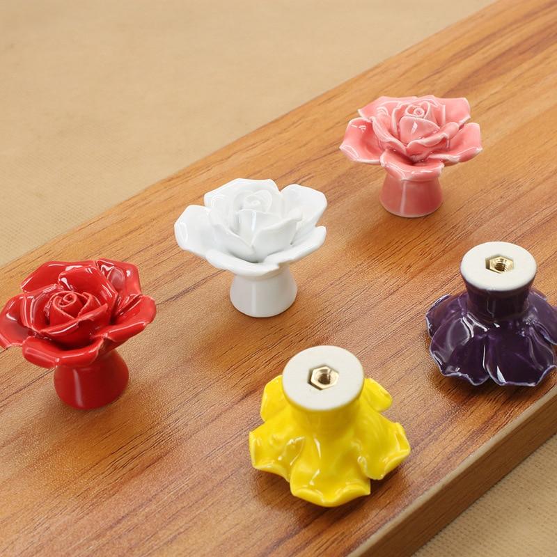 30mm Purple Rose Bloom Crystal Zinc Alloy Ambry Room Furniture Decorate Handle