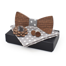 dropshipping business fashion plaid bowtie cotton square scarf cufflinks party luxury wood bow tie set with brooch pin box