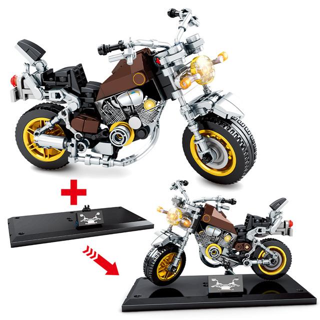 City Technic Off-road Motorbike Model Building Blocks Creator DIY Street Racing Ride Motorcycle Bricks Toys For Children Boys
