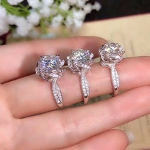 Kkmall Store Round Silver Moissanite Ring 1.00ct D VVS Luxury Weding S925 silver ring