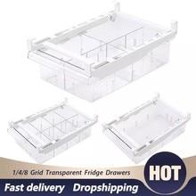 1/4 ızgara buzdolabı organizatör yumurta çekmece kutusu şeffaf buzdolabı depolama çekmecesi kapları asılı kiler dondurucu mutfak gereçleri