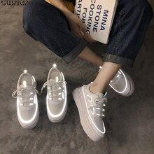 SWYIVY białe nieformalne damskie buty PU platforma Sneakers kobiety nowy 2020 moda wiosna trampki dla kobiet szycia buty damskie światło