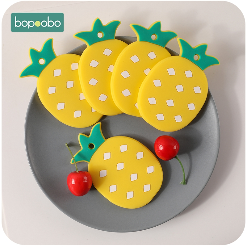 Bopoobo 1pc Baby Teether Bpa Free Silicone Pineapple Food Grade Chewable Nursing Teething Accessory Baby Products Newborn Hold