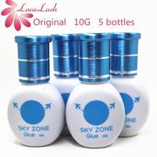 5 garrafas/lote frete grátis original coréia céu zona cola para extensões de cílios 10ml baixa irritação sem fumaça cílios cola ferramentas