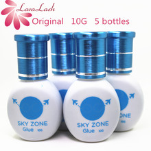 5 زجاجات/مجموعة شحن مجاني الأصلي كوريا السماء منطقة الغراء ل رمش ملحقات 10 مللي تهيج منخفضة لا الدخان رمش الغراء أدوات