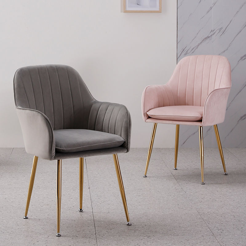Modern Design Padded Luxury Dining Chair Modern Sofa Pink Gold Metal Chair Bedroom Make Up Chair Living Room Furniture