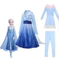 3pcs Frozen 2 Elsa Dress Girls Baby Clothing Anna Princess Set Snow Queen Dress Christmas Carnival Cosplay Costume Birthday Gift