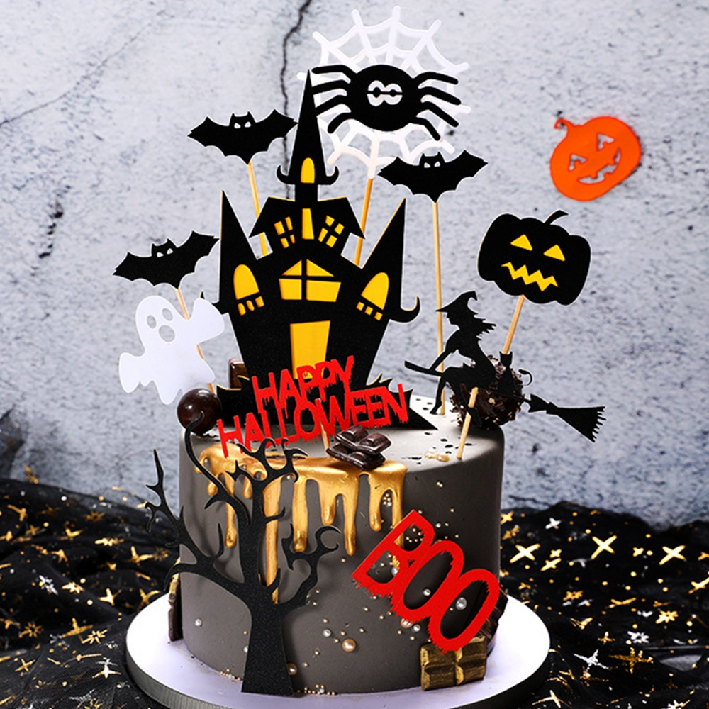 Halloween Cake Toppers Set Home Baking Cake Diy Decorating Card