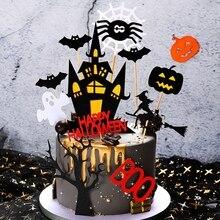 할로윈 케이크 토퍼 세트 홈 베이킹 케이크 diy 장식 카드 성 유령 마녀 뱀파이어 파티 디저트 장식 용품