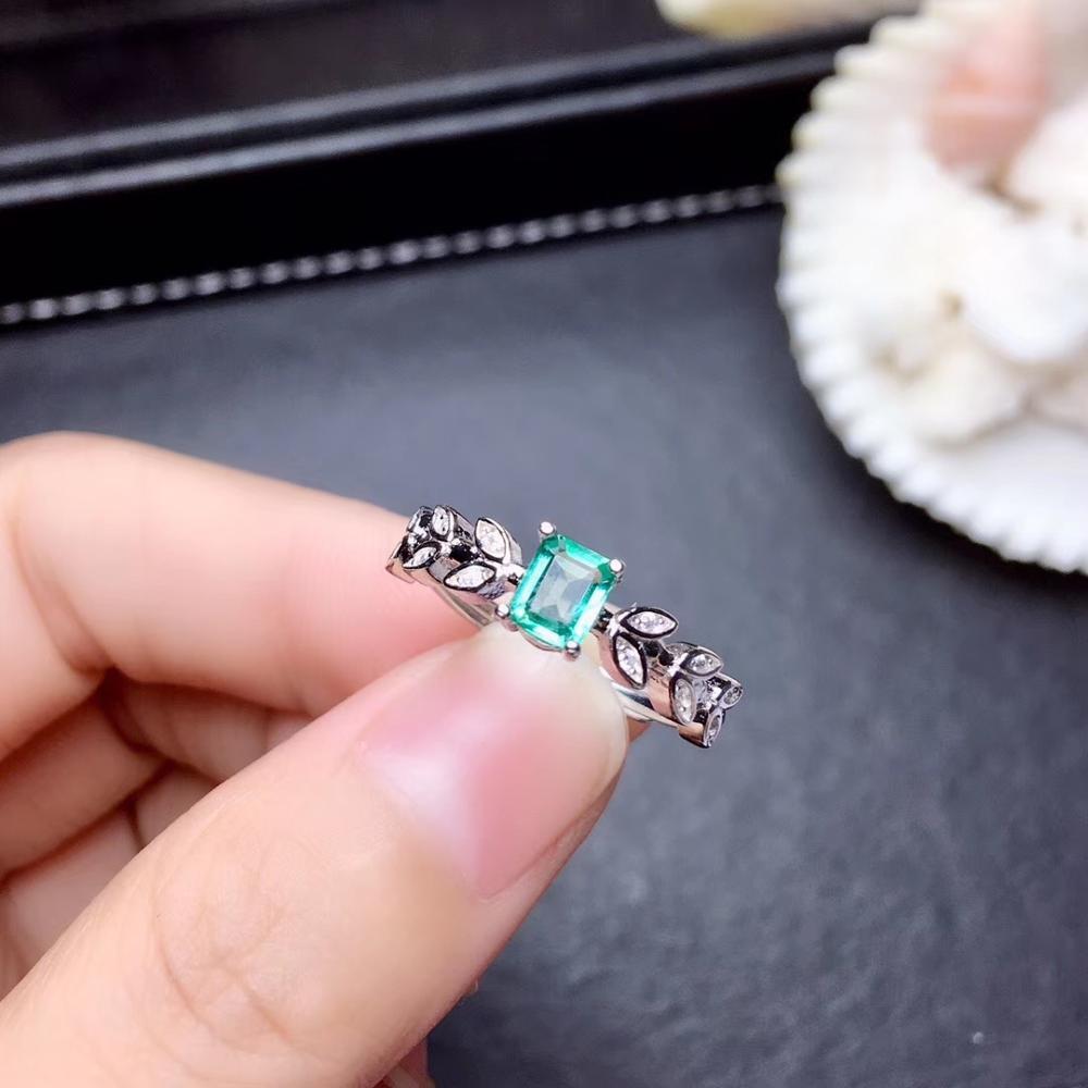 Feuille forme émeraude pierre gemme anneau pour femmes bijoux 100% naturel gemme 925 en argent sterling ornement fête t anniversaire cadeau vert - 5